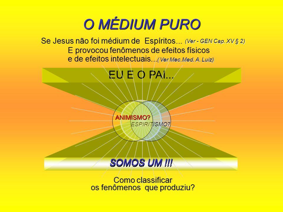 EU E O PAI... SOMOS UM !!! O MÉDIUM PURO (Ver - GEN Cap. XV § 2) SOMOS UM !!! Se Jesus não foi médium de Espíritos... Se Jesus não foi médium de Espír