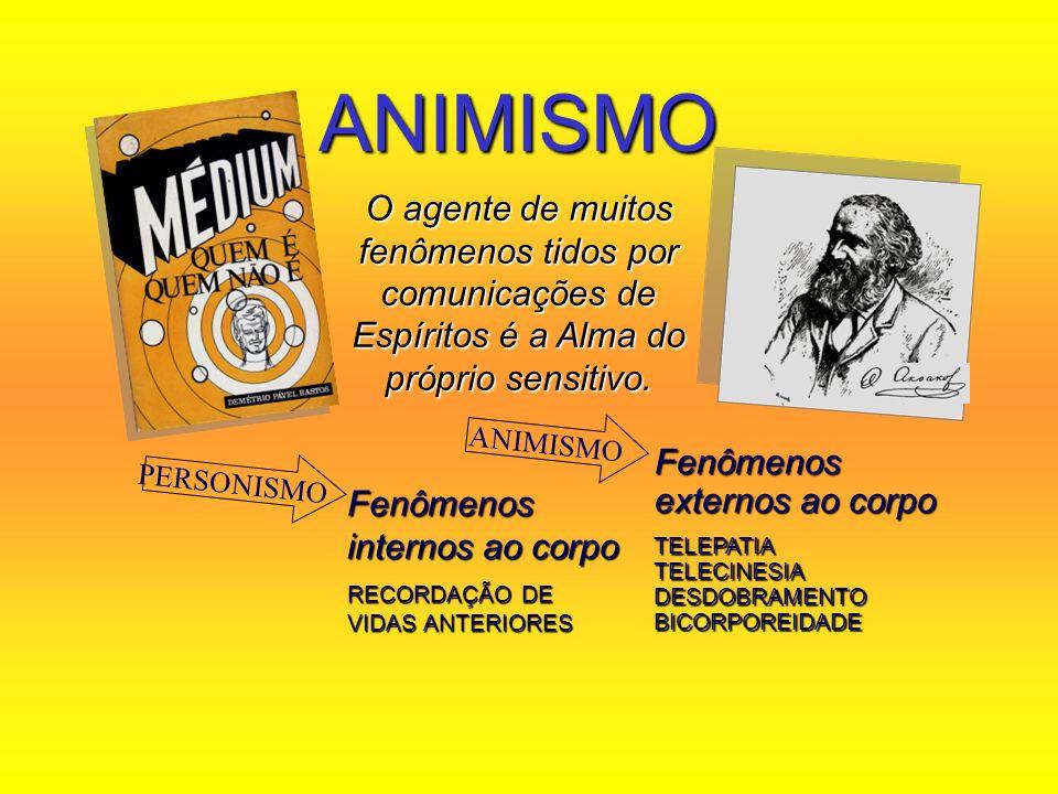 ANIMISMO O agente de muitos fenômenos tidos por comunicações de Espíritos é a Alma do próprio sensitivo. Fenômenos internos ao corpo RECORDAÇÃO DE VID
