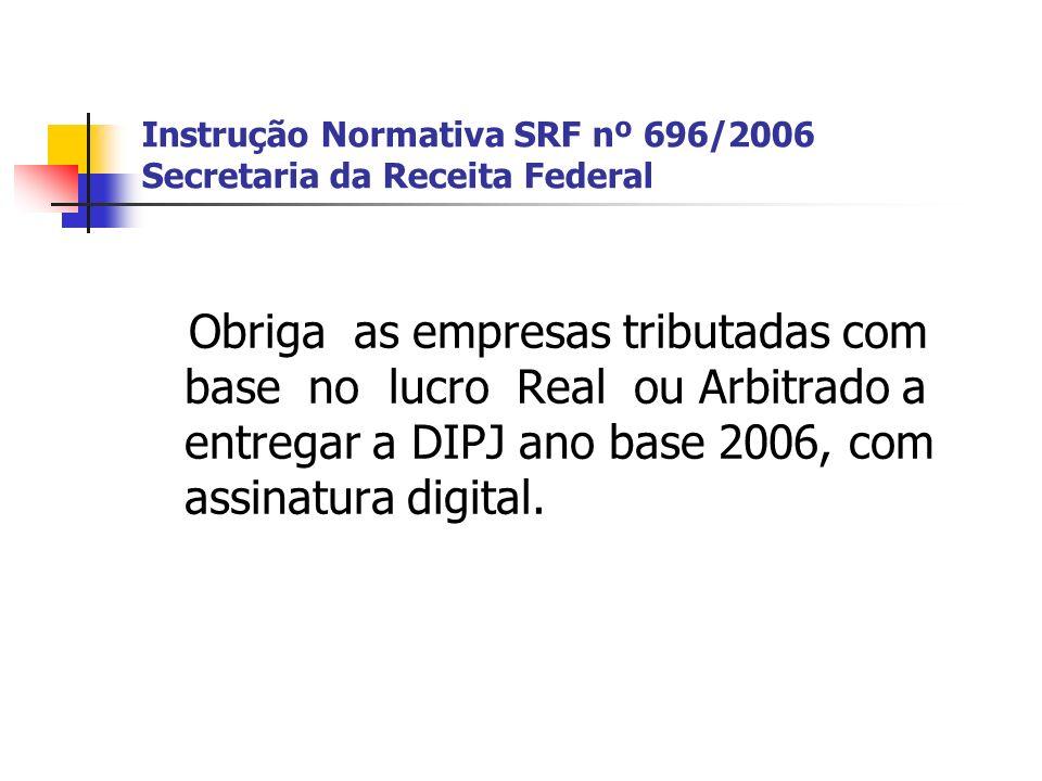 Instrução Normativa SRF nº 696/2006 Secretaria da Receita Federal Obriga as empresas tributadas com base no lucro Real ou Arbitrado a entregar a DIPJ