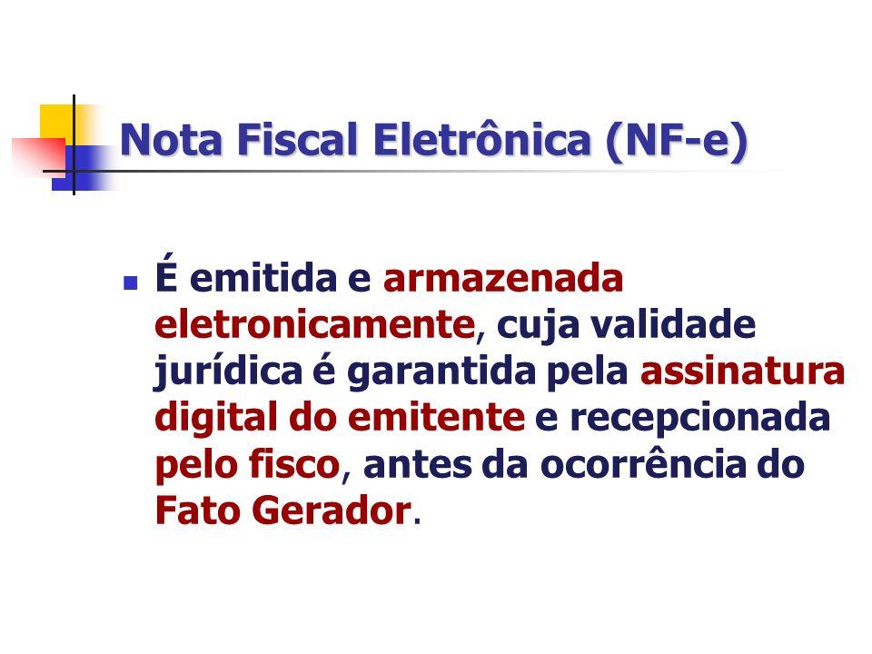 Nota Fiscal Eletrônica (NF-e) É emitida e armazenada eletronicamente, cuja validade jurídica é garantida pela assinatura digital do emitente e recepci