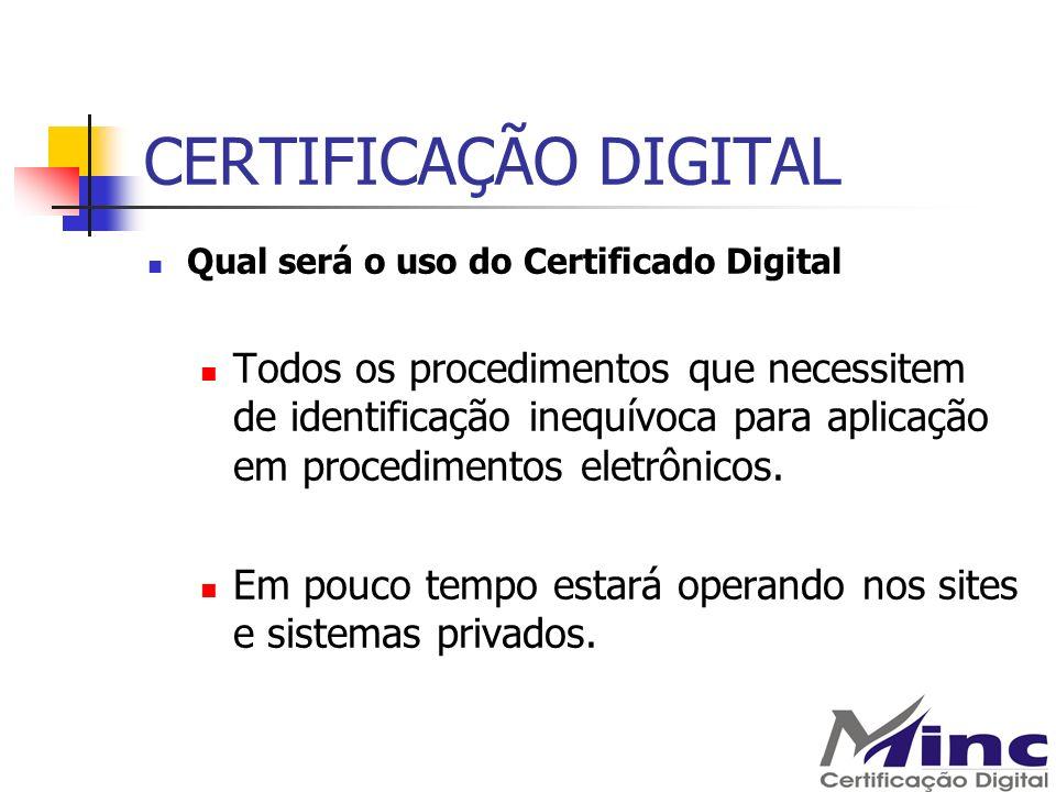 CERTIFICAÇÃO DIGITAL Qual será o uso do Certificado Digital Todos os procedimentos que necessitem de identificação inequívoca para aplicação em proced