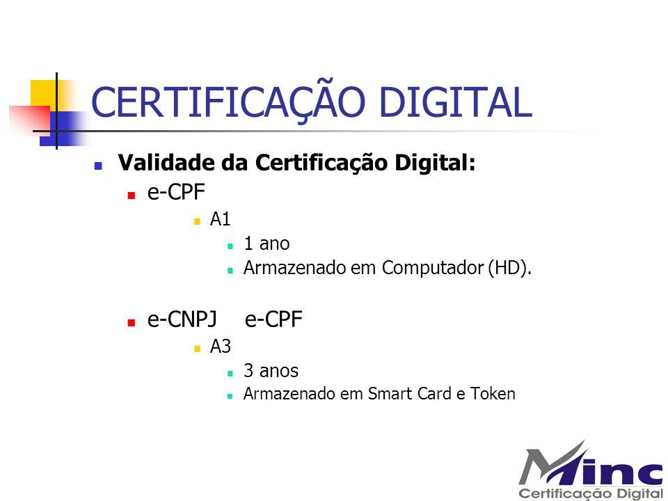 CERTIFICAÇÃO DIGITAL Validade da Certificação Digital: e-CPF A1 1 ano Armazenado em Computador (HD). e-CNPJ e-CPF A3 3 anos Armazenado em Smart Card e