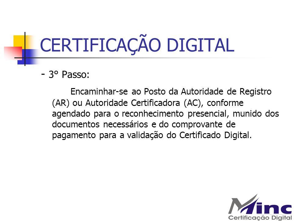 CERTIFICAÇÃO DIGITAL - 3° Passo: Encaminhar-se ao Posto da Autoridade de Registro (AR) ou Autoridade Certificadora (AC), conforme agendado para o reco