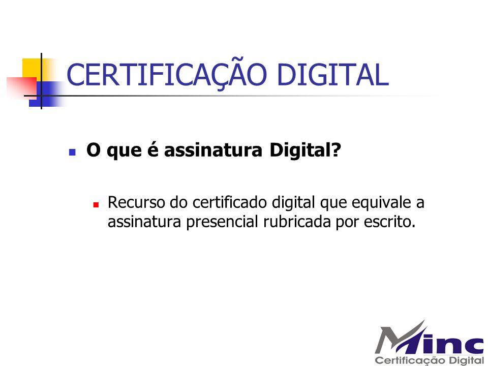 CERTIFICAÇÃO DIGITAL Qual será o uso do Certificado Digital Todos os procedimentos que necessitem de identificação inequívoca para aplicação em procedimentos eletrônicos.