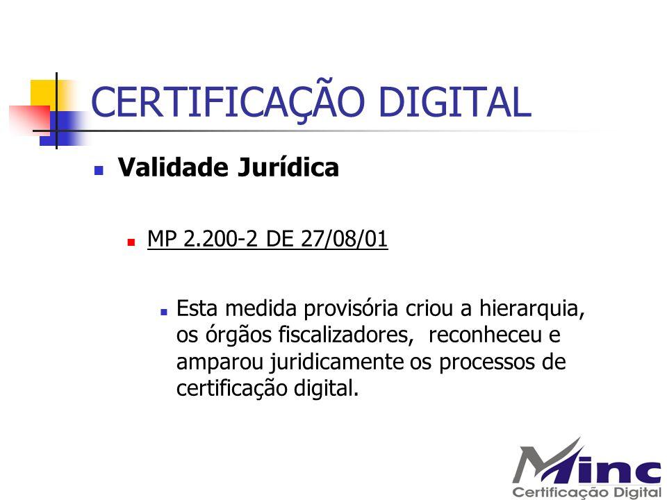 CERTIFICAÇÃO DIGITAL Validade Jurídica MP 2.200-2 DE 27/08/01 Esta medida provisória criou a hierarquia, os órgãos fiscalizadores, reconheceu e amparo