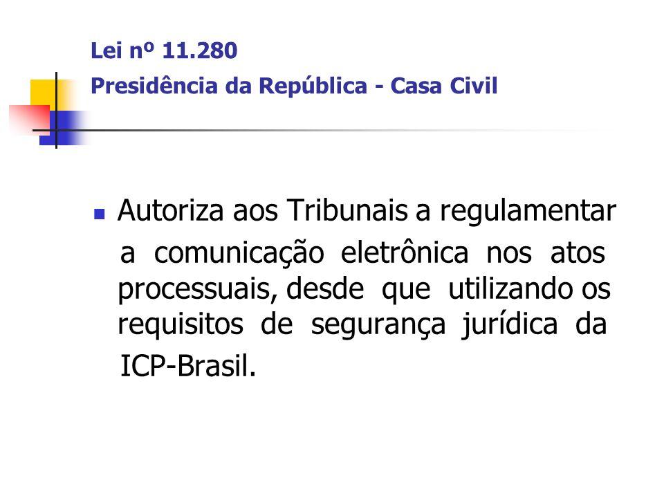 Lei nº 11.280 Presidência da República - Casa Civil Autoriza aos Tribunais a regulamentar a comunicação eletrônica nos atos processuais, desde que uti