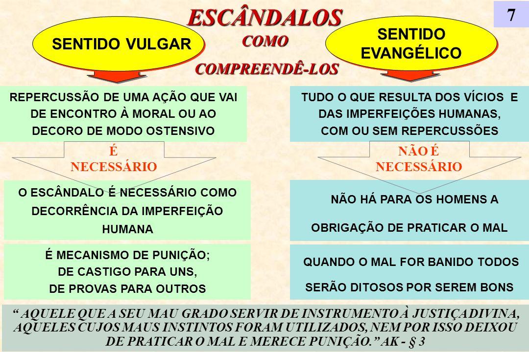 ESCÂNDALOS COMO COMPREENDÊ-LOS COMPREENDÊ-LOS 7 SENTIDO VULGAR SENTIDO EVANGÉLICO SENTIDO EVANGÉLICO AQUELE QUE A SEU MAU GRADO SERVIR DE INSTRUMENTO