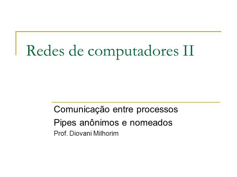 Redes de computadores II Comunicação entre processos Pipes anônimos e nomeados Prof. Diovani Milhorim