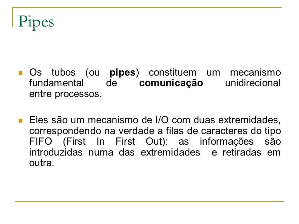Pipes Os tubos (ou pipes) constituem um mecanismo fundamental de comunicação unidirecional entre processos. Eles são um mecanismo de I/O com duas extr