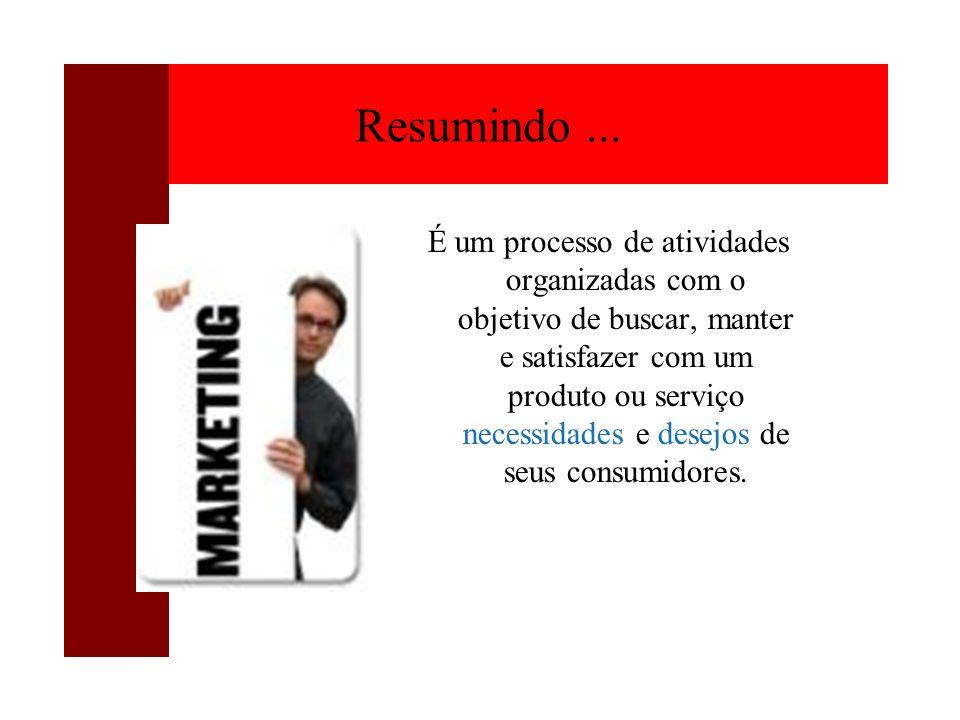 Resumindo... É um processo de atividades organizadas com o objetivo de buscar, manter e satisfazer com um produto ou serviço necessidades e desejos de