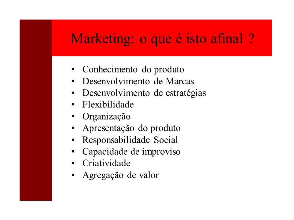Marketing: o que é isto afinal ? Conhecimento do produto Desenvolvimento de Marcas Desenvolvimento de estratégias Flexibilidade Organização Apresentaç