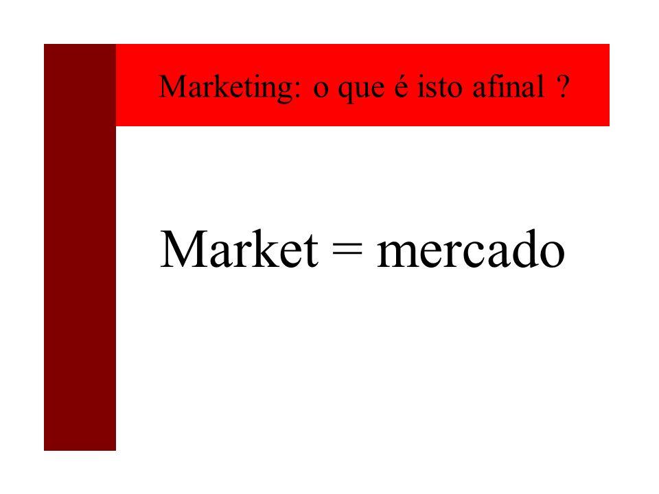 Marketing: o que é isto afinal ? Market = mercado