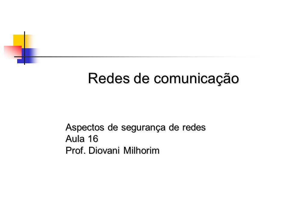 Redes de comunicação Aspectos de segurança de redes Aula 16 Prof. Diovani Milhorim