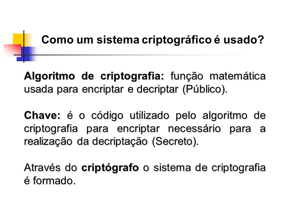 Algoritmo de criptografia: função matemática usada para encriptar e decriptar (Público). Chave: é o código utilizado pelo algoritmo de criptografia pa