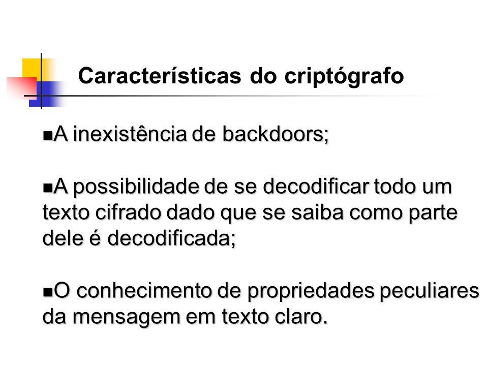 A inexistência de backdoors; A inexistência de backdoors; A possibilidade de se decodificar todo um texto cifrado dado que se saiba como parte dele é