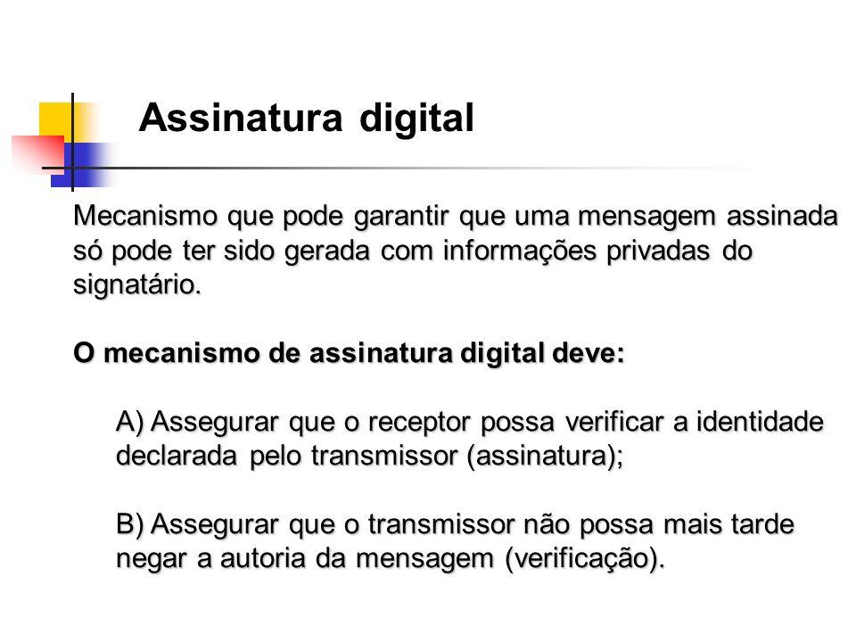 Assinatura digital Mecanismo que pode garantir que uma mensagem assinada só pode ter sido gerada com informações privadas do signatário. O mecanismo d
