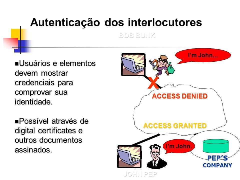 Autenticação dos interlocutores Usuários e elementos devem mostrar credenciais para comprovar sua identidade. Usuários e elementos devem mostrar crede