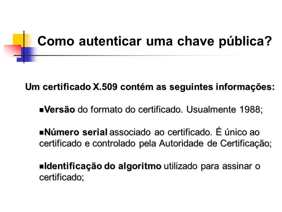 Um certificado X.509 contém as seguintes informações: Versão do formato do certificado. Usualmente 1988; Versão do formato do certificado. Usualmente
