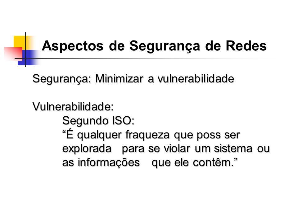 Segurança: Minimizar a vulnerabilidade Vulnerabilidade: Segundo ISO: É qualquer fraqueza que poss ser explorada para se violar um sistema ou as inform
