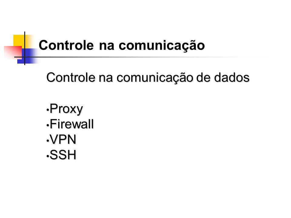 Controle na comunicação Controle na comunicação de dados Proxy Proxy Firewall Firewall VPN VPN SSH SSH