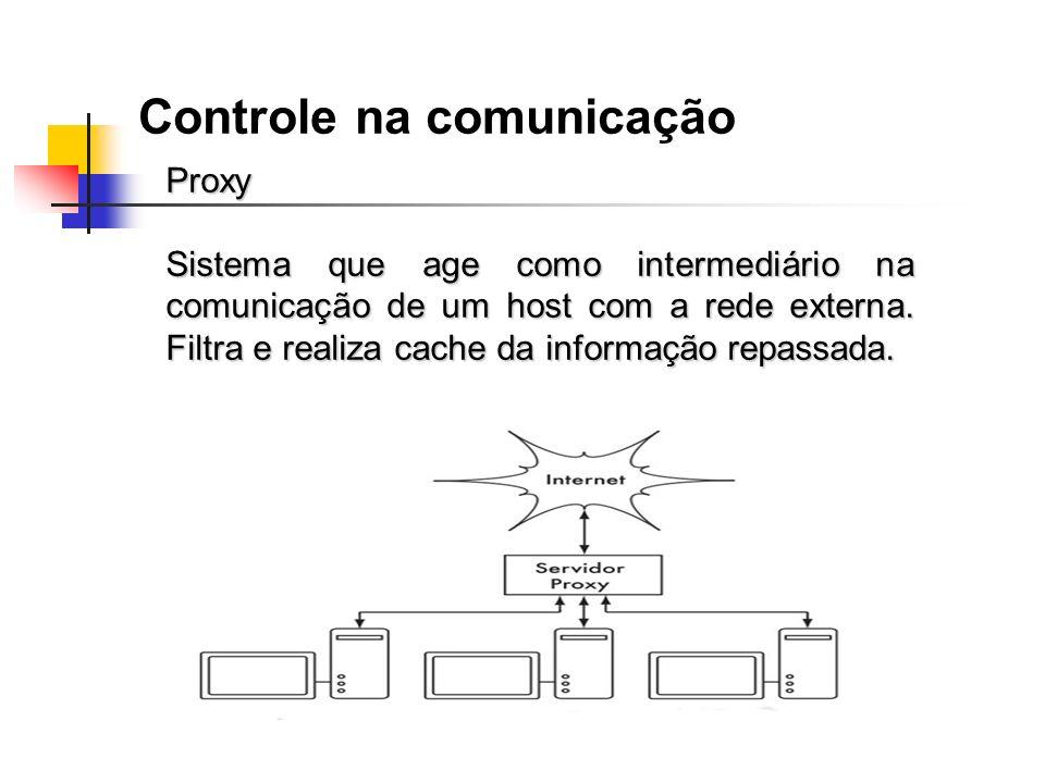 Controle na comunicação Proxy Sistema que age como intermediário na comunicação de um host com a rede externa. Filtra e realiza cache da informação re
