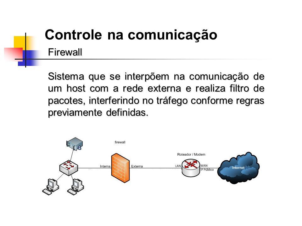 Controle na comunicação Firewall Sistema que se interpõem na comunicação de um host com a rede externa e realiza filtro de pacotes, interferindo no tr