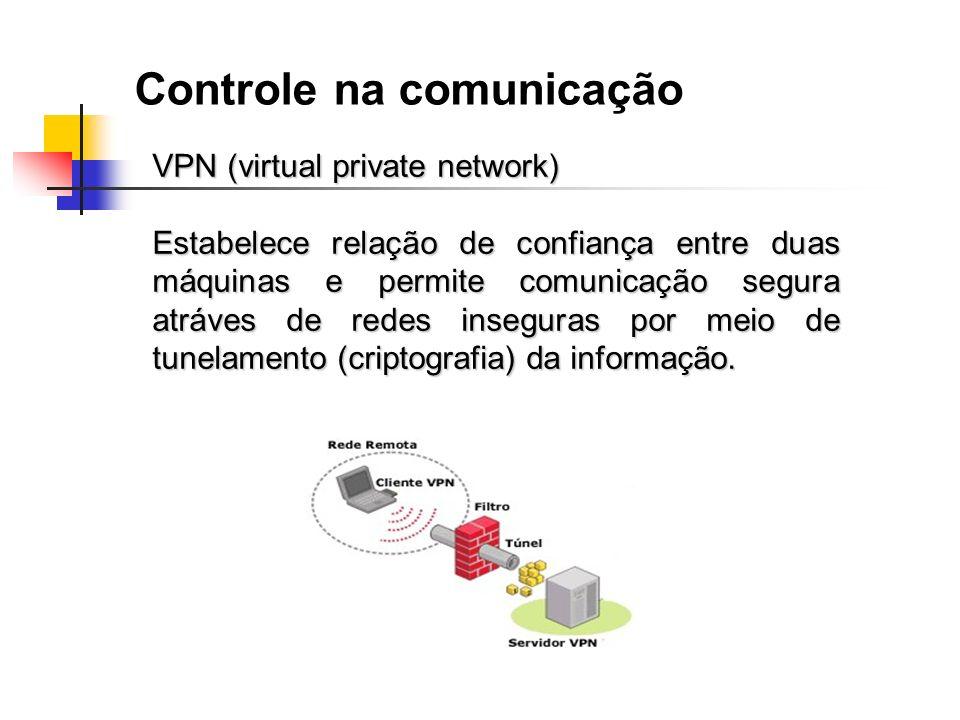 Controle na comunicação VPN (virtual private network) Estabelece relação de confiança entre duas máquinas e permite comunicação segura atráves de rede