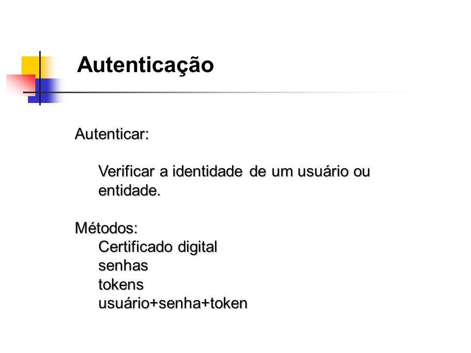 Autenticação Autenticar: Verificar a identidade de um usuário ou entidade. Métodos: Certificado digital senhastokensusuário+senha+token