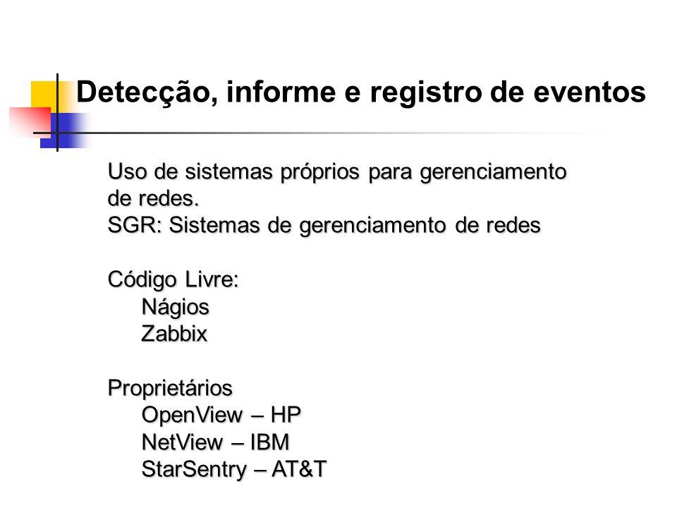 Detecção, informe e registro de eventos Uso de sistemas próprios para gerenciamento de redes. SGR: Sistemas de gerenciamento de redes Código Livre: Ná