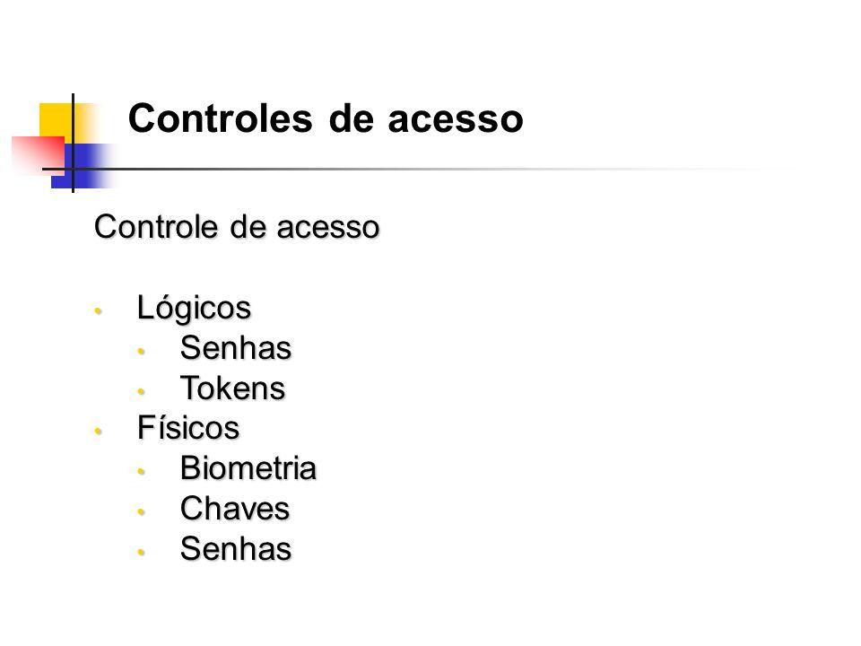Controle de acesso Lógicos Lógicos Senhas Senhas Tokens Tokens Físicos Físicos Biometria Biometria Chaves Chaves Senhas Senhas Controles de acesso
