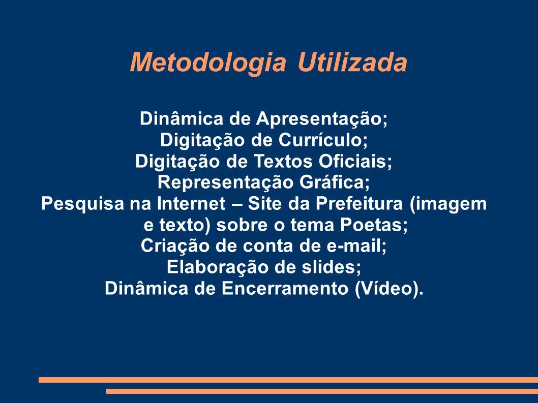 Metodologia Utilizada Dinâmica de Apresentação; Digitação de Currículo; Digitação de Textos Oficiais; Representação Gráfica; Pesquisa na Internet – Si