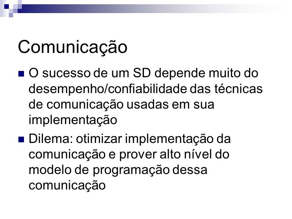 Comunicação O sucesso de um SD depende muito do desempenho/confiabilidade das técnicas de comunicação usadas em sua implementação Dilema: otimizar imp