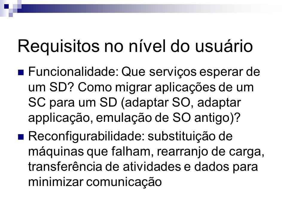 Requisitos no nível do usuário Funcionalidade: Que serviços esperar de um SD? Como migrar aplicações de um SC para um SD (adaptar SO, adaptar applicaç
