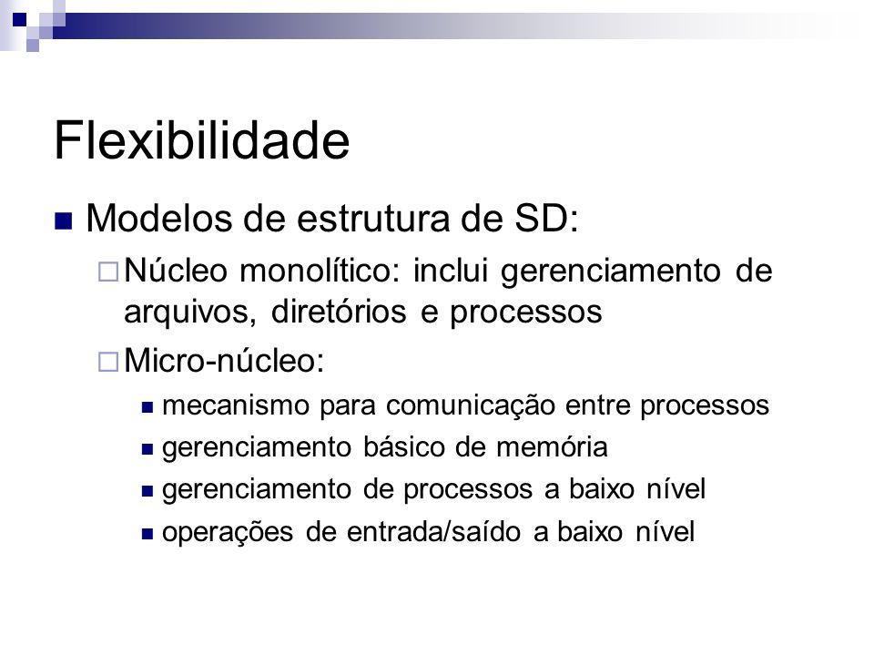 Flexibilidade Modelos de estrutura de SD: Núcleo monolítico: inclui gerenciamento de arquivos, diretórios e processos Micro-núcleo: mecanismo para com