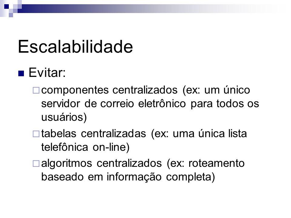 Escalabilidade Evitar: componentes centralizados (ex: um único servidor de correio eletrônico para todos os usuários) tabelas centralizadas (ex: uma ú