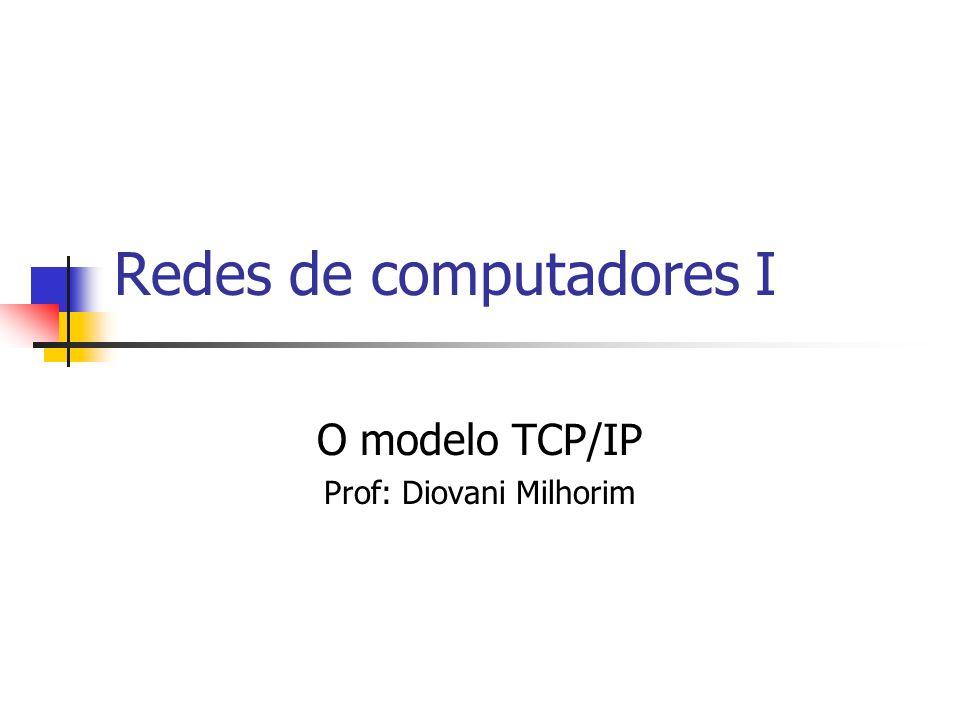 Modelo TCP/IP Antes do desenvolvimento do modelo de camadas ISO/OSI, o DoD (departamento de defesa americano) definiu seu próprio modelo de rede conhecido como modelo DoD de rede ou também modelo Internet de rede.