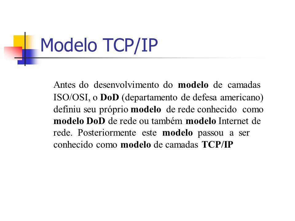 Modelo TCP/IP O modelo TCP/IP quando comparado com o modelo OSI, tem duas camadas que se formam a partir da fusão de algumas camadas, são elas: as camadas de Aplicação (Aplicação, Apresentação e Sessão) e Rede (Link de dados e Física)