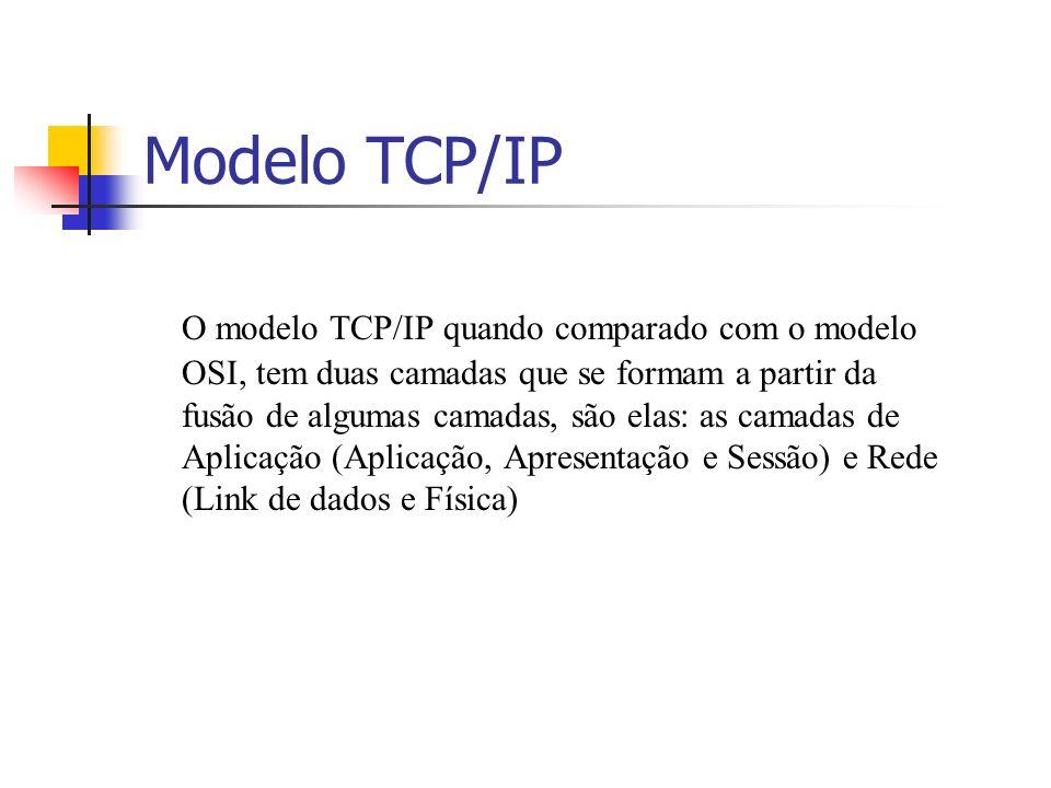 Modelo TCP/IP O modelo TCP/IP quando comparado com o modelo OSI, tem duas camadas que se formam a partir da fusão de algumas camadas, são elas: as cam