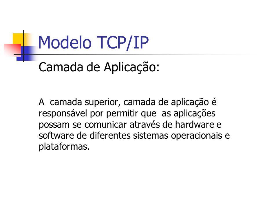 Modelo TCP/IP Camada de Transporte: Fornece forma de comunicação entre duas aplicações (ponto a ponto).