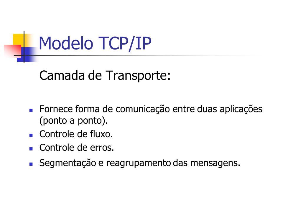 Modelo TCP/IP Camada de Transporte: Fornece forma de comunicação entre duas aplicações (ponto a ponto). Controle de fluxo. Controle de erros. Segmenta