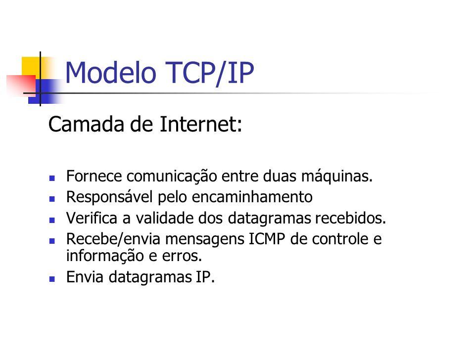 Modelo TCP/IP Camada de Internet: Fornece comunicação entre duas máquinas. Responsável pelo encaminhamento Verifica a validade dos datagramas recebido
