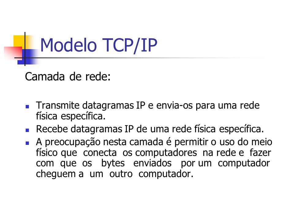 Modelo TCP/IP Camada de rede: Transmite datagramas IP e envia-os para uma rede física específica. Recebe datagramas IP de uma rede física específica.