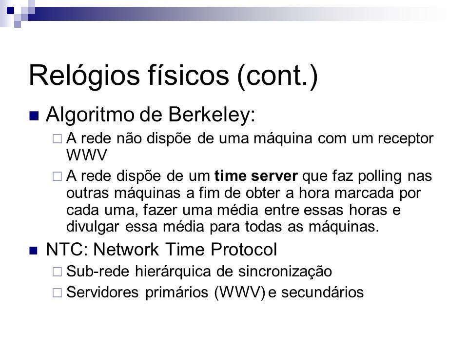 Relógios físicos (cont.) Algoritmo de Berkeley: A rede não dispõe de uma máquina com um receptor WWV A rede dispõe de um time server que faz polling n
