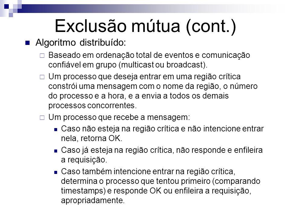 Exclusão mútua (cont.) Algoritmo distribuído: Baseado em ordenação total de eventos e comunicação confiável em grupo (multicast ou broadcast). Um proc