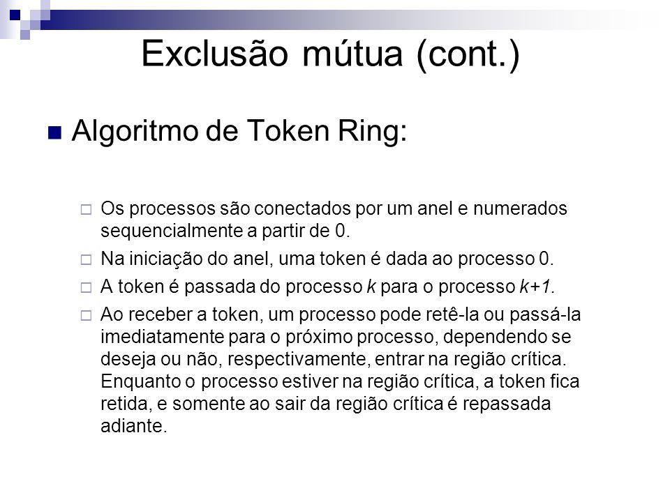 Exclusão mútua (cont.) Algoritmo de Token Ring: Os processos são conectados por um anel e numerados sequencialmente a partir de 0. Na iniciação do ane
