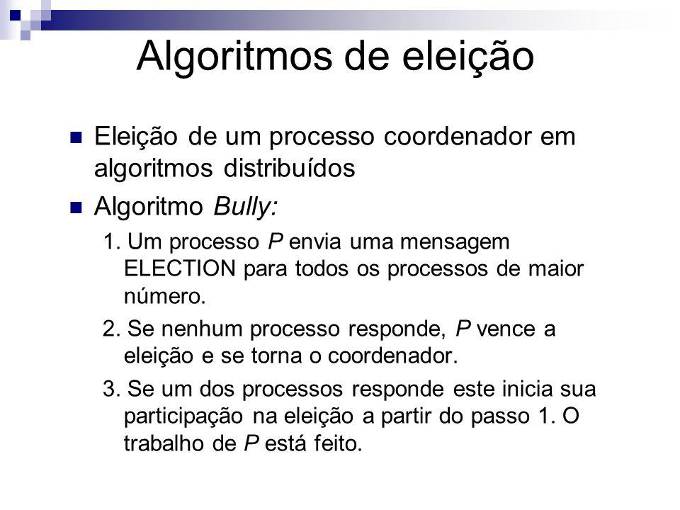 Algoritmos de eleição Eleição de um processo coordenador em algoritmos distribuídos Algoritmo Bully: 1. Um processo P envia uma mensagem ELECTION para