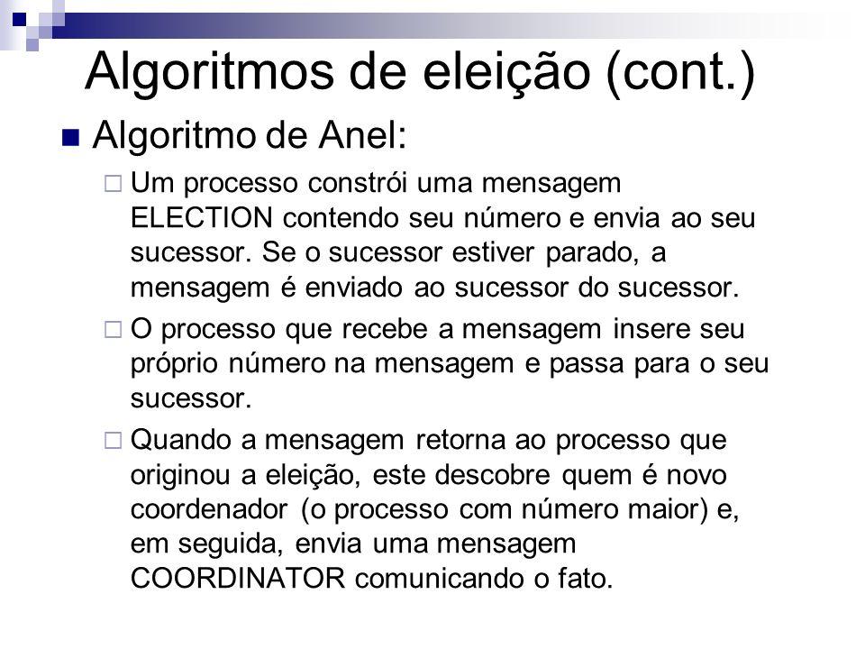 Algoritmos de eleição (cont.) Algoritmo de Anel: Um processo constrói uma mensagem ELECTION contendo seu número e envia ao seu sucessor. Se o sucessor