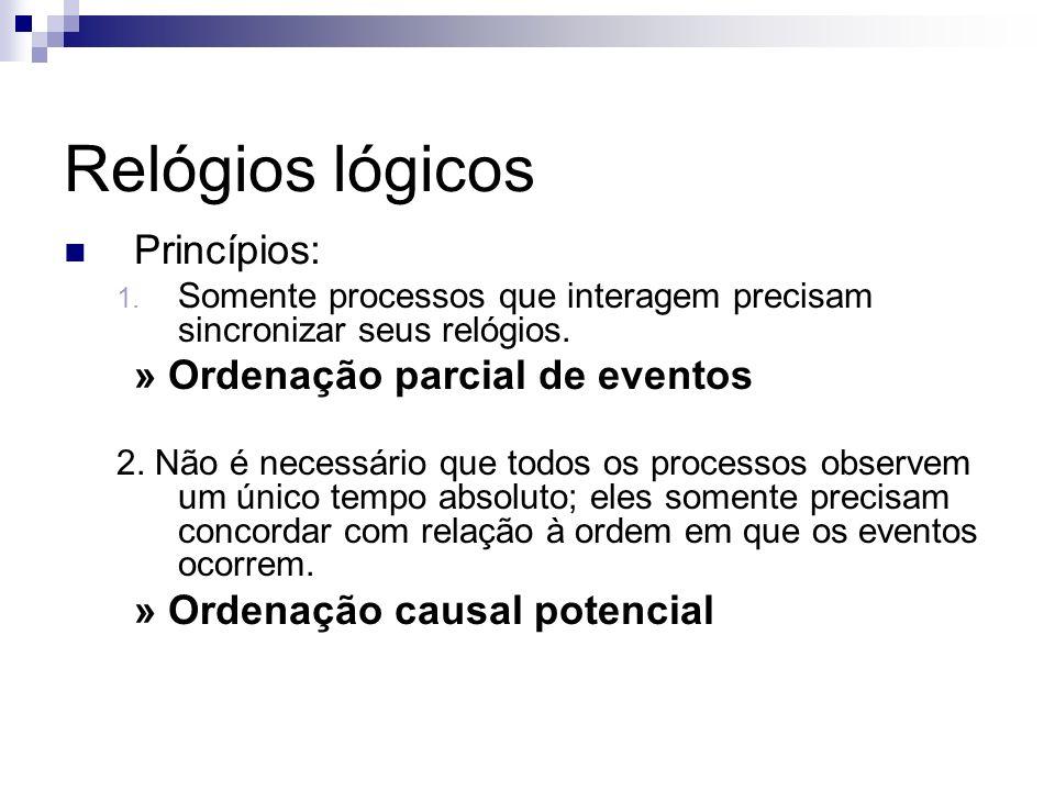 Relógios lógicos Princípios: 1. Somente processos que interagem precisam sincronizar seus relógios. » Ordenação parcial de eventos 2. Não é necessário