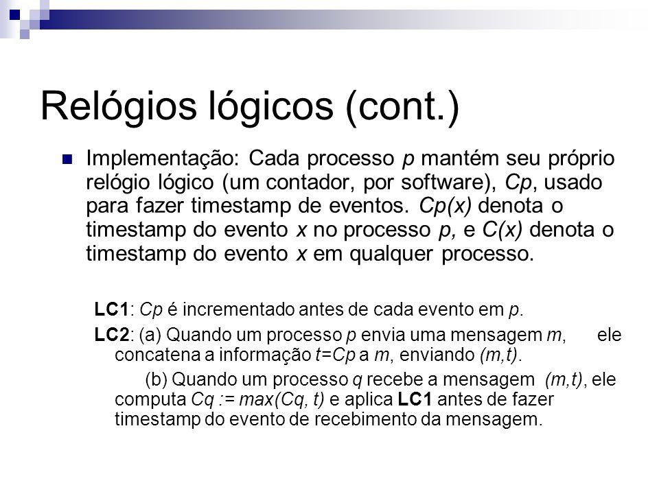 Implementação: Cada processo p mantém seu próprio relógio lógico (um contador, por software), Cp, usado para fazer timestamp de eventos. Cp(x) denota