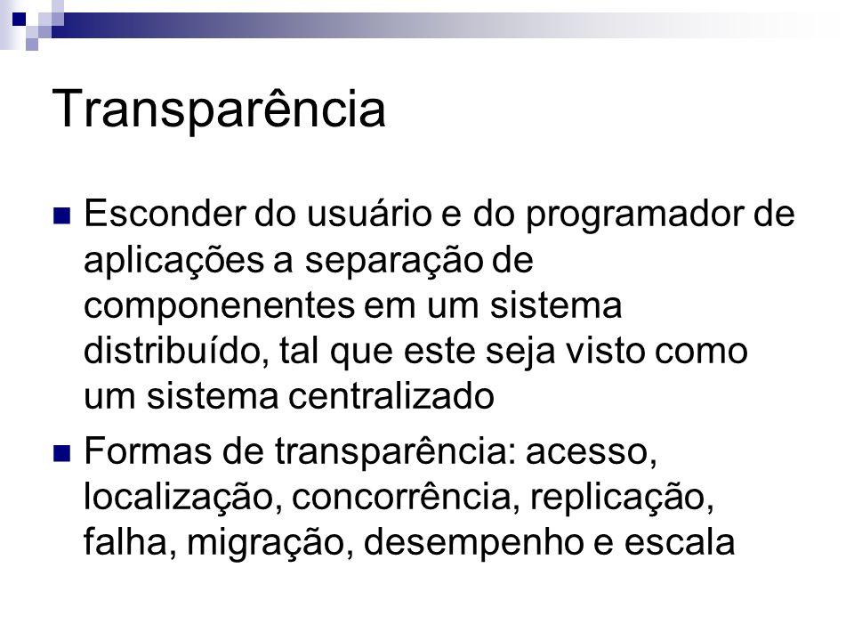 Transparência Esconder do usuário e do programador de aplicações a separação de componenentes em um sistema distribuído, tal que este seja visto como